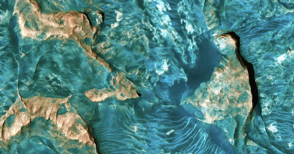 Photograph - Mars Surface Painting With Cyan Tones by Matthias Hauser