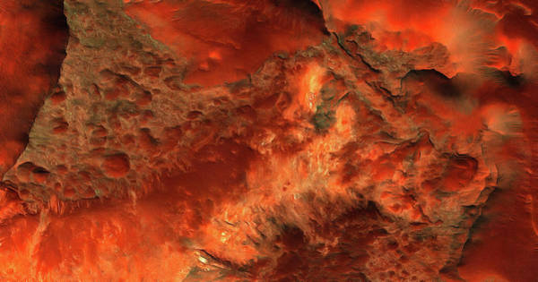 Photograph - Mars Surface Red And Orange Art Painting by Matthias Hauser