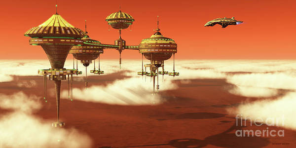 Wall Art - Digital Art - Mars Upper Atmosphere Station by Corey Ford