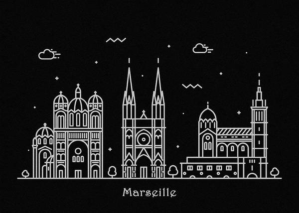 Monument Drawing - Marseille Skyline Travel Poster by Inspirowl Design