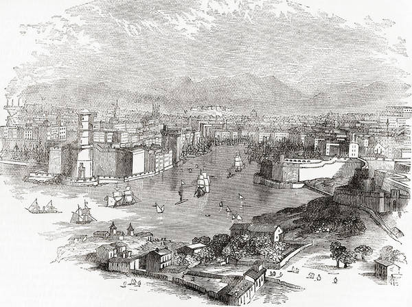Wall Art - Drawing - Marseilles, France In The 19th Century by Vintage Design Pics