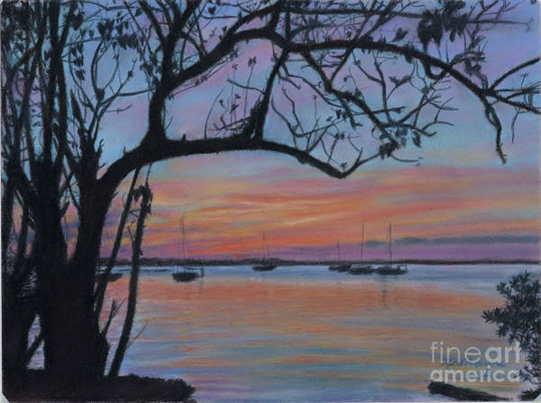 Pastel - Marsh Harbour At Sunset by Roshanne Minnis-Eyma