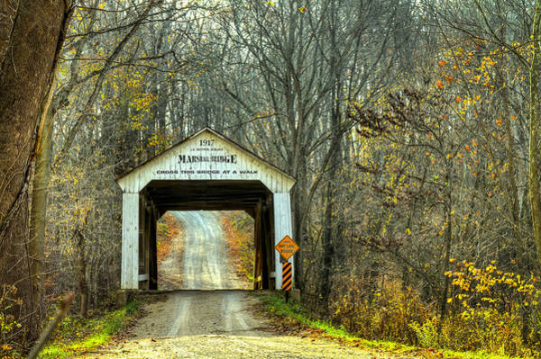 Photograph - Marshall Covered Bridge by Jack R Perry
