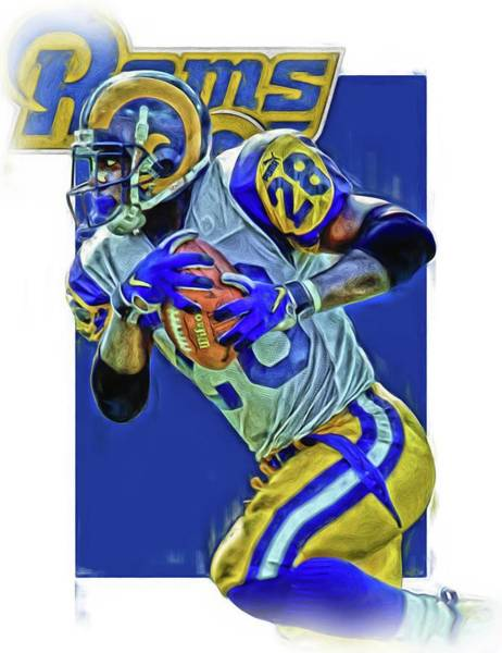 Ram Wall Art - Mixed Media - Marshall Faulk Los Angeles Rams Oil Art by Joe Hamilton