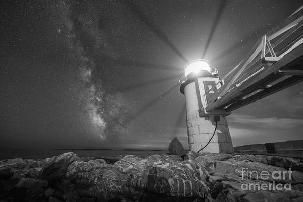 Marshall Point Lighthouse Photograph - Marshall Point Guiding Light Bw by Michael Ver Sprill