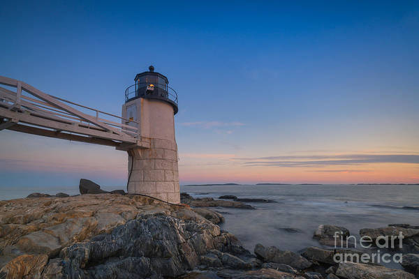 Fire In The Sky Wall Art - Photograph - Marshall Point Light At Blue Hour by Michael Ver Sprill