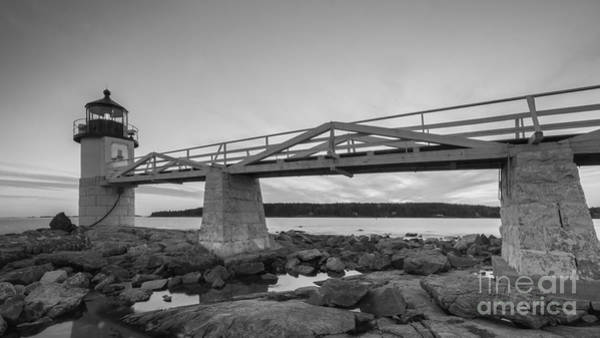 Marshall Point Lighthouse Photograph - Marshall Point Light Sunset Bw by Michael Ver Sprill