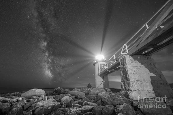 Marshall Point Lighthouse Photograph - Marshall Point Lighthouse Milky Way Bw by Michael Ver Sprill