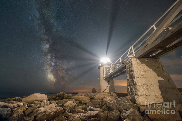Marshall Point Lighthouse Photograph - Marshall Point Lighthouse Milky Way  by Michael Ver Sprill