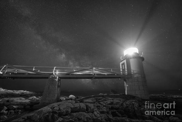 East Point Photograph - Marshall Point Lighthouse Milky Way Rising Bw by Michael Ver Sprill