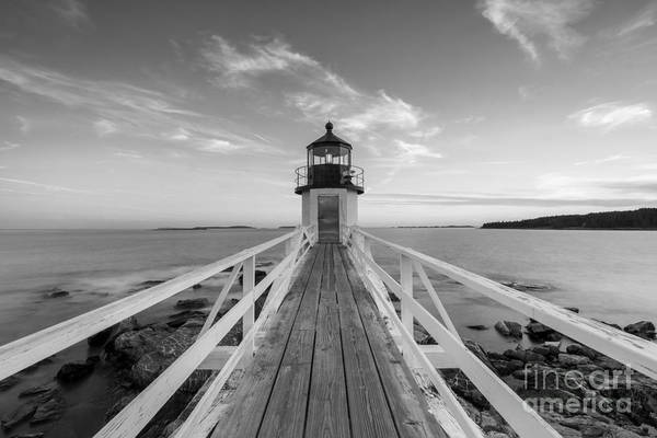 Fire In The Sky Wall Art - Photograph - Marshall Point Lighthouse Sunset Bw by Michael Ver Sprill