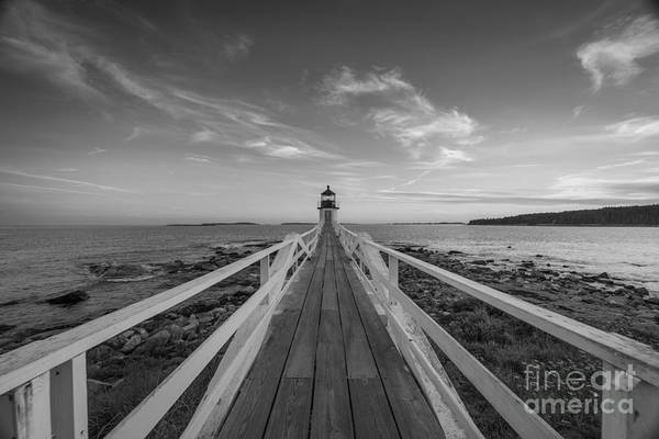 Fire In The Sky Wall Art - Photograph - Marshall Point Lighthouse Wide Angle Bw by Michael Ver Sprill