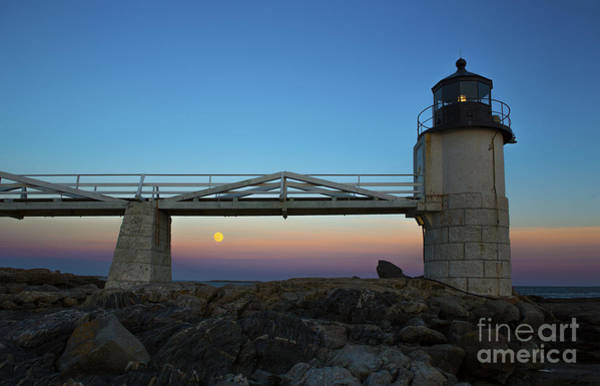 Marshall Point Lighthouse Photograph - Marshall Point Lighthouse With Full Moon by Diane Diederich
