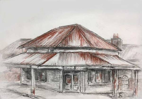 Drawing - Marsh's Corner Store by Ryn Shell