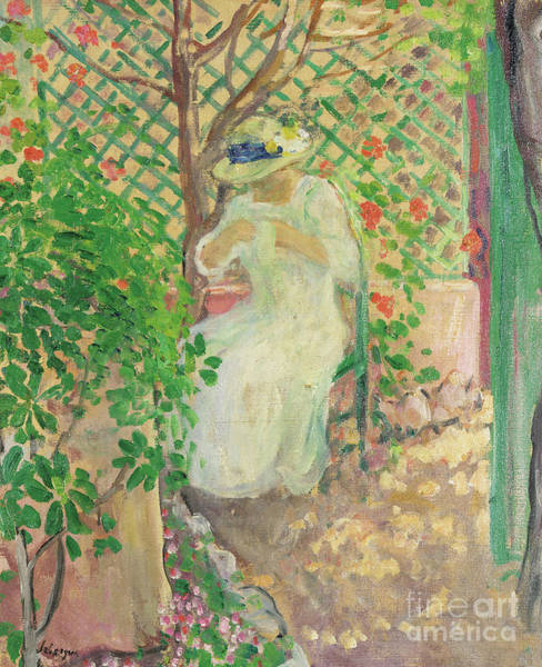 Wall Art - Painting - Marthe Lebasque Dans La Gloriette by Henri Lebasque