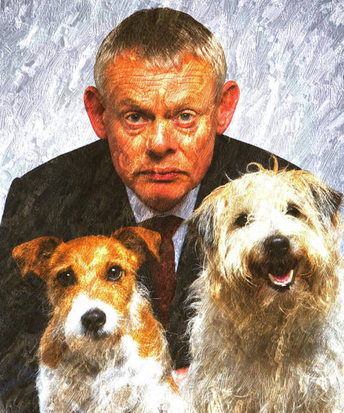 Wall Art - Mixed Media - Martin Clunes As Doc Martin With Dogs Oil Painting by Design Turnpike