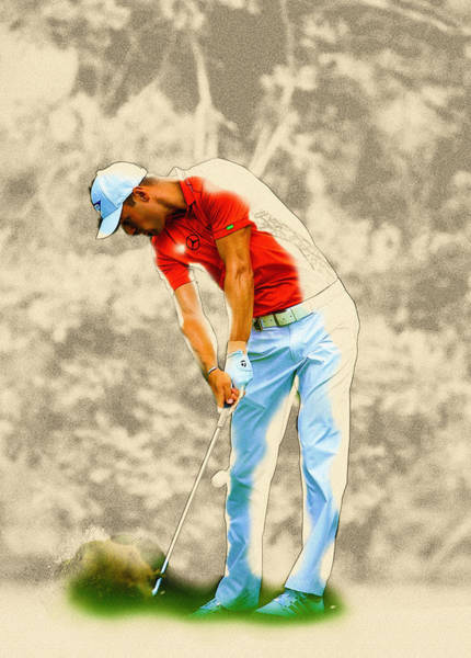Rory Mcilroy Digital Art - Martin Kaymer Hits His Tee Shot On The 11th Hole  by Don Kuing