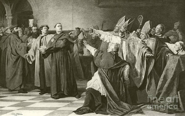 Male Figure Drawing - Martin Luther Before The Council Of Worms  by English School