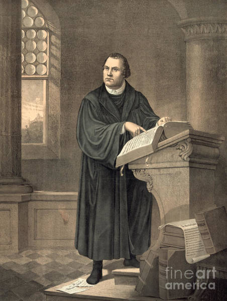 Wall Art - Painting - Martin Luther In His Study by American School