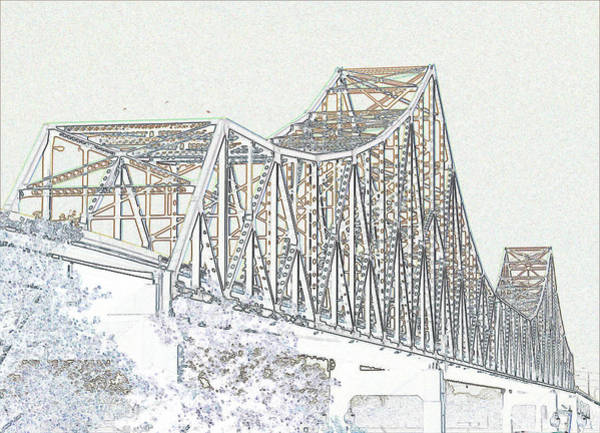 Photograph - Martin Luther King Bridge Line Art - Color by David Coblitz
