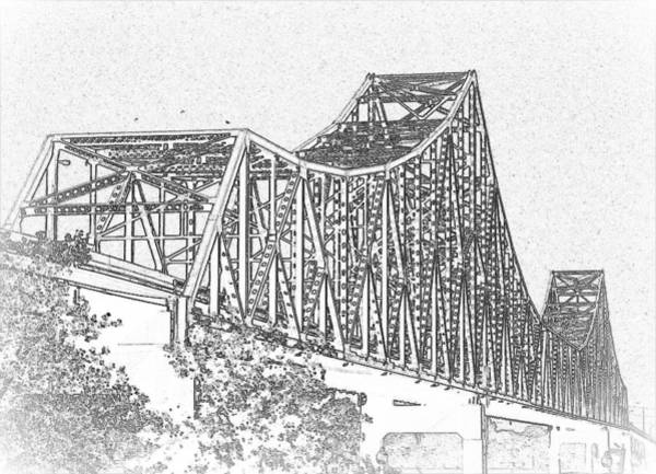 Photograph - Martin Luther King Bridge Line Art Bw by David Coblitz