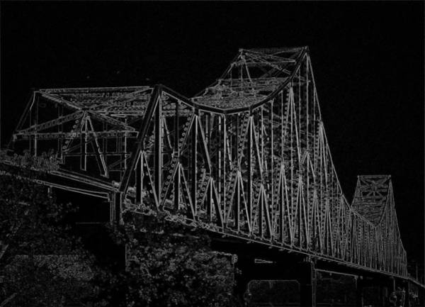 Digital Art - Martin Luther King Bridge Line Art Negative Bw by David Coblitz