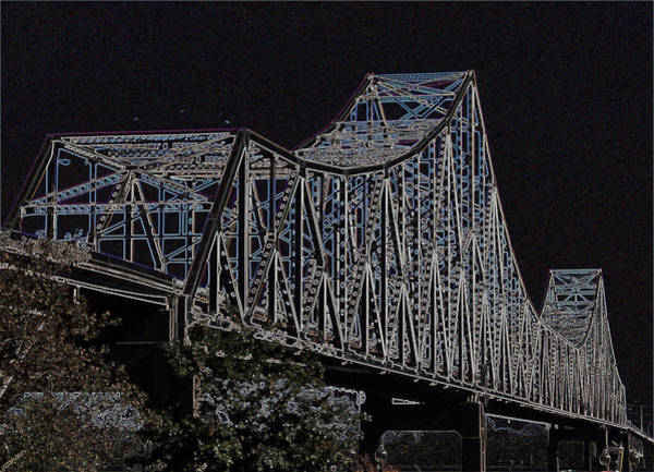 Photograph - Martin Luther King Bridge Line Art Negative by David Coblitz
