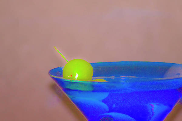 Photograph - Martini In A Blue Glass by Bill Cannon