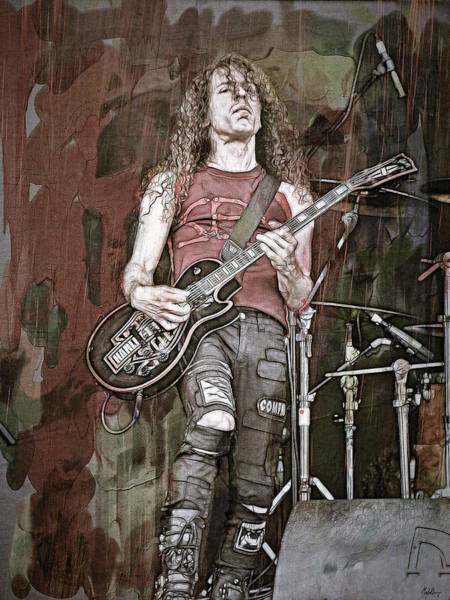 Thrash Metal Wall Art - Digital Art - Marty Friedman, Guitarist by Mal Bray