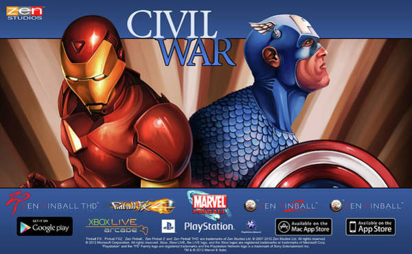 Pinball Digital Art - Marvel Pinball Civil War by Bert Mailer