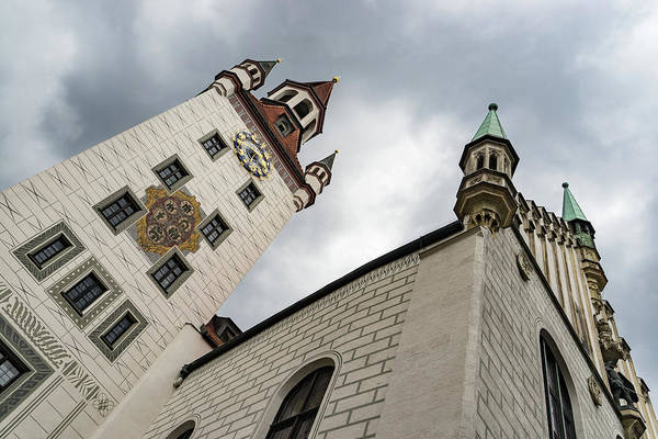 Photograph - Marvelous Munich - Altes Rathaus Old Town Hall Against Ominous Clouds by Georgia Mizuleva