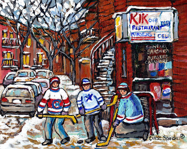 Painting - Marvens Restaurant Park Ex Winter In The City Montreal Art Street Hockey Painting For Sale C Spandau by Carole Spandau