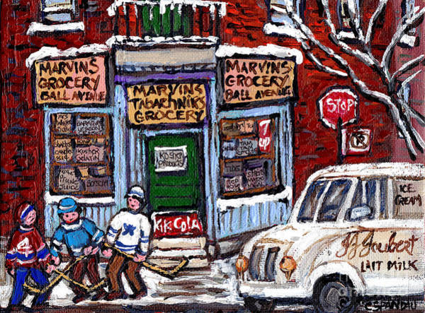 Boys Playing Hockey Painting - Marvins And Tabachnicks Grocery With J J Joubert Milk Truck Ball Ave Park Ex Montreal Memories Art by Carole Spandau