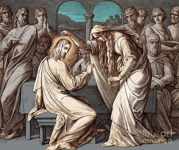 Jesus Drawing - Mary Magdalene Anoints Jesus, Gospel Of Matthew by Julius Schnorr von Carolsfeld