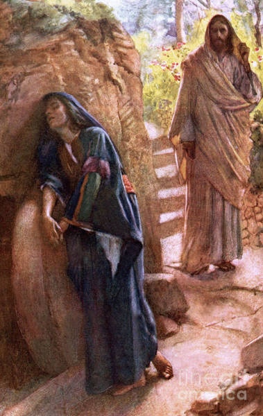 Sad Painting - Mary Magdalene At The Sepulchre by Harold Copping