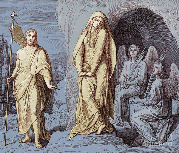 Miracle Drawing - Mary Magdalene At The Tomb Of Christ, Gospel Of John by Julius Schnorr von Carolsfeld