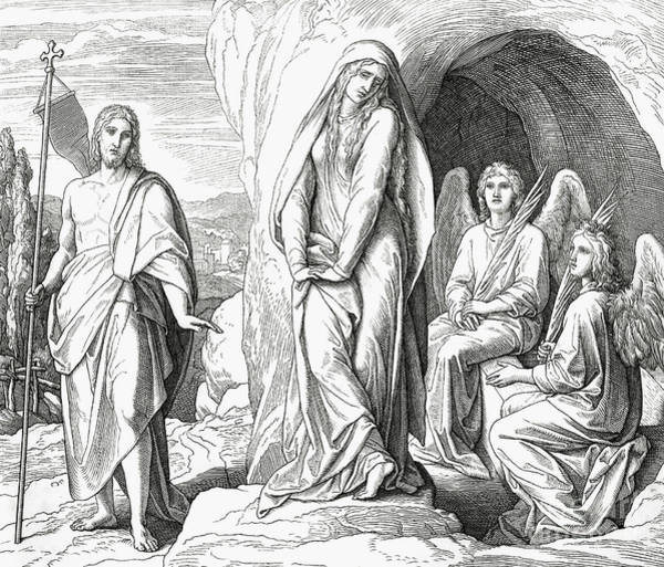 Wall Art - Drawing - Mary Magdalene At The Tomb Of Jesus Christ by Julius Schnorr von Carolsfeld