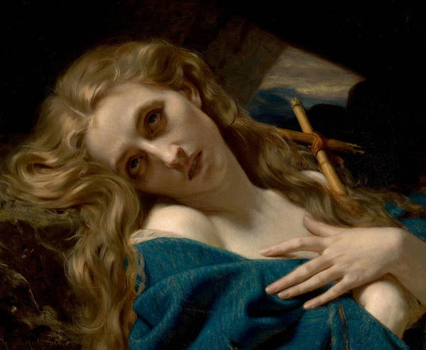 Boudoir Digital Art - Mary Magdalene In The Cave by Hugues Merle