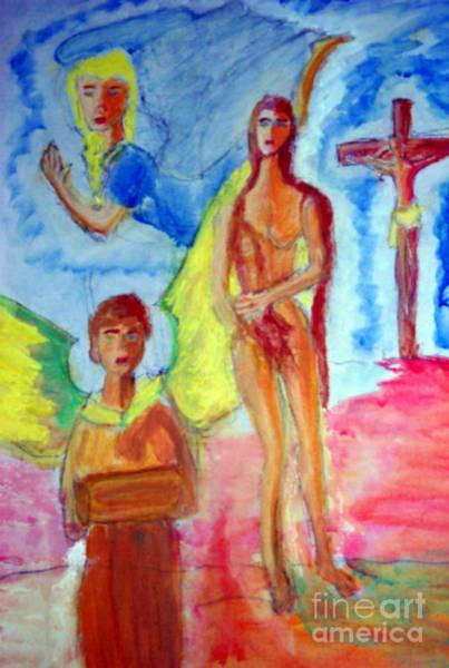 Painting - Mary Magdalene Jesus And The Angels by Stanley Morganstein
