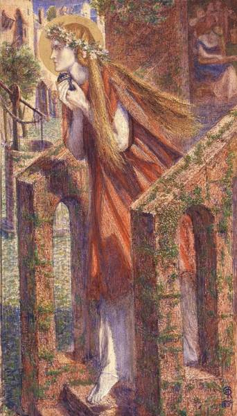 Gabriel Painting -  Mary Magdalene Leaving The House Feasting by Dante Gabriel Rossetti