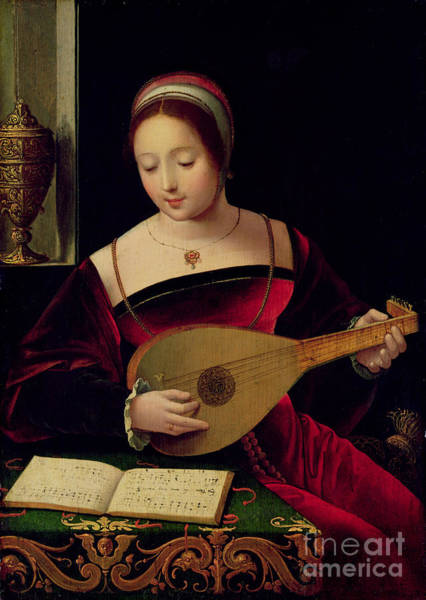 Woman Reading Wall Art - Painting - Mary Magdalene Playing The Lute by Master of the Female Half Lengths