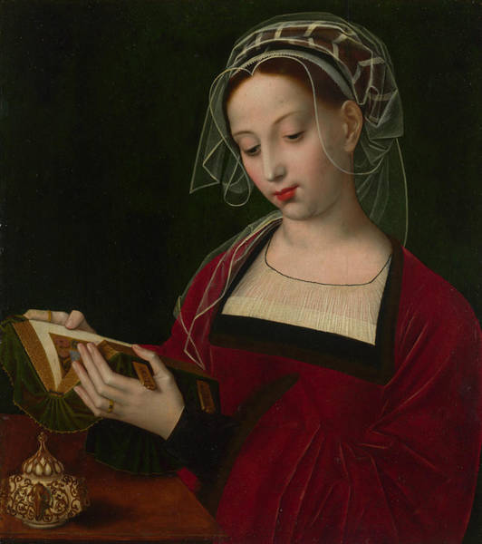 Renaissance Painters Wall Art - Painting - Mary Magdalene Reading by Ambrosius Benson
