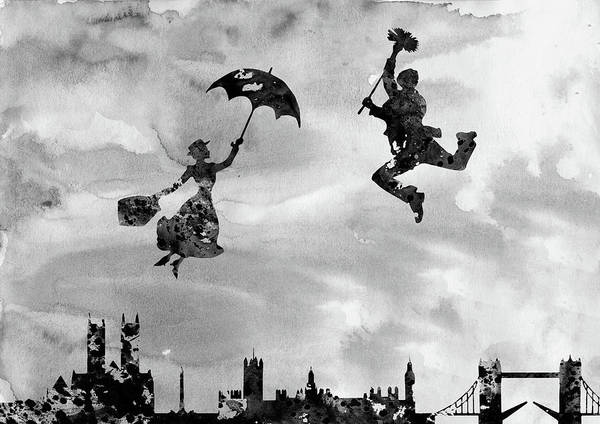 Wall Art - Digital Art - Mary Poppins And Bert-black by Erzebet S