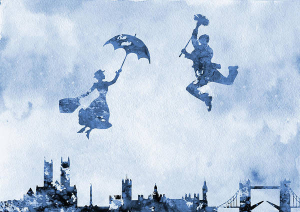Wall Art - Digital Art -  Mary Poppins And Bert-blue by Erzebet S