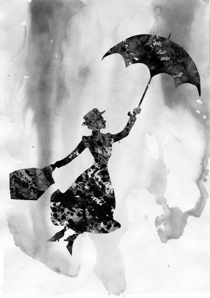Wall Art - Digital Art - Mary Poppins-black by Erzebet S