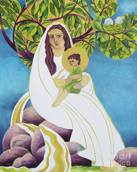 Painting - Mary, Promised Land - Mmprl by Br Mickey McGrath OSFS
