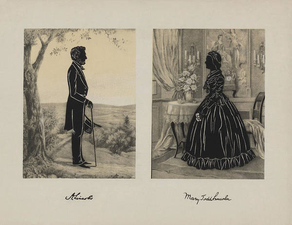 Us Civil War Mixed Media - Mary Todd And Abraham Lincoln Silhouettes by War Is Hell Store