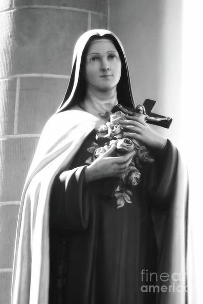 Photograph - Mary With Crucifix And Roses - Black And White by Carol Groenen
