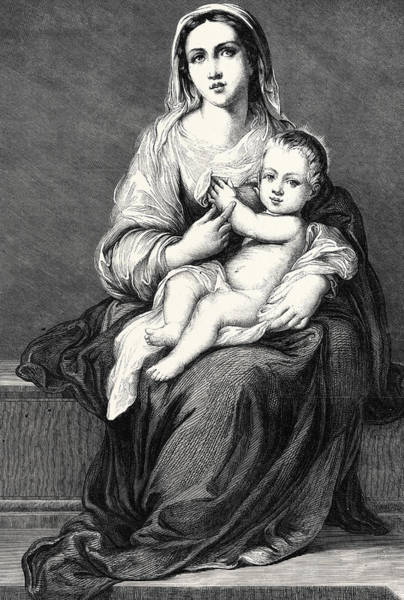 Madonna Drawing - Mary With The Child Jesus by German School