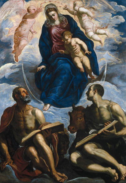 Painting - Mary With The Child, Venerated By St. Marc And St. Luke by Tintoretto